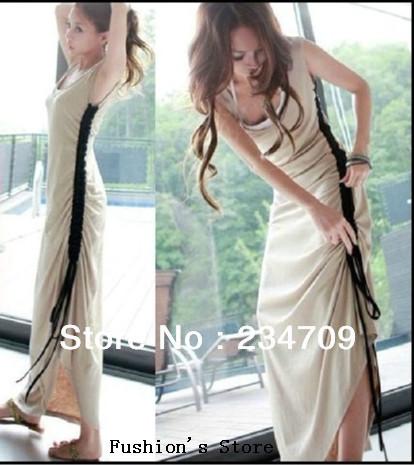sexy beige The side draw string vest dress/dresses new fashion 2013/dress women/bodycon dress,1 pcs/lot