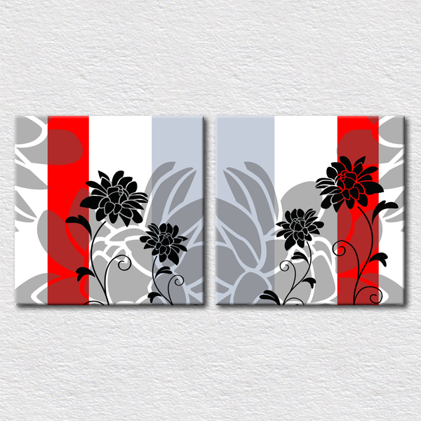 Home Decoration Black and red artwork pictures Modern canvas prints abstract art oil painting 2pcs set sale with good quality(China (Mainland))