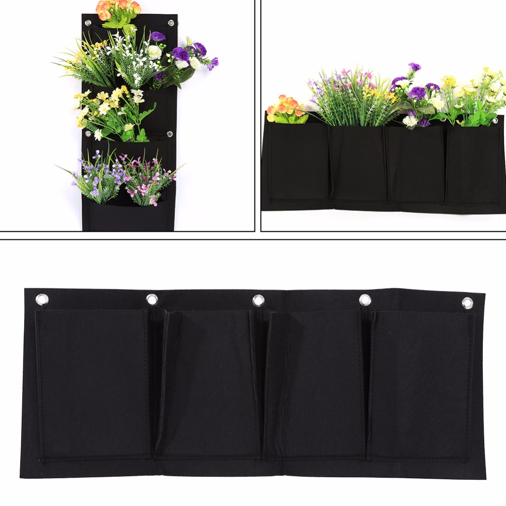 5PCS Indoor Outdoor Wall Hanging Planter Vertical Horizontal Felt Garden Plant Grow Container Bags Wall-mounted Planting Pouch(China (Mainland))