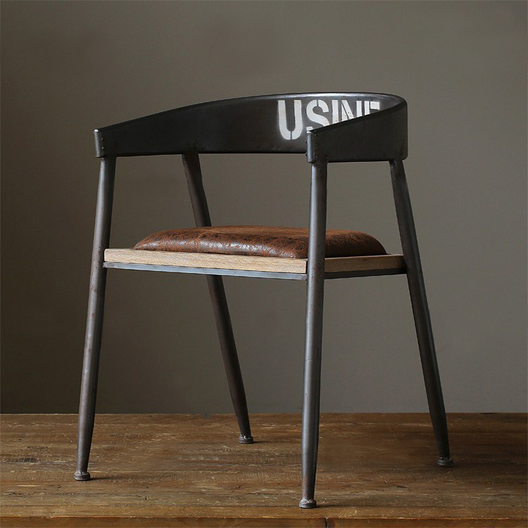 European Vintage Metal Bar Chair Stool For Home Rustic Wrought Iron Bar Charis Stools Retro