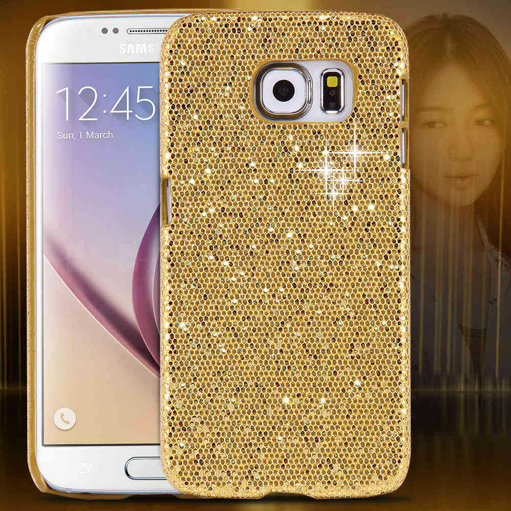 Candy Colors! Glitter Bling Sequin Skin Case For Samsung S6 G9200 Luxury Stylish Accessories Hard Back Cover Gold Hot Pink(China (Mainland))