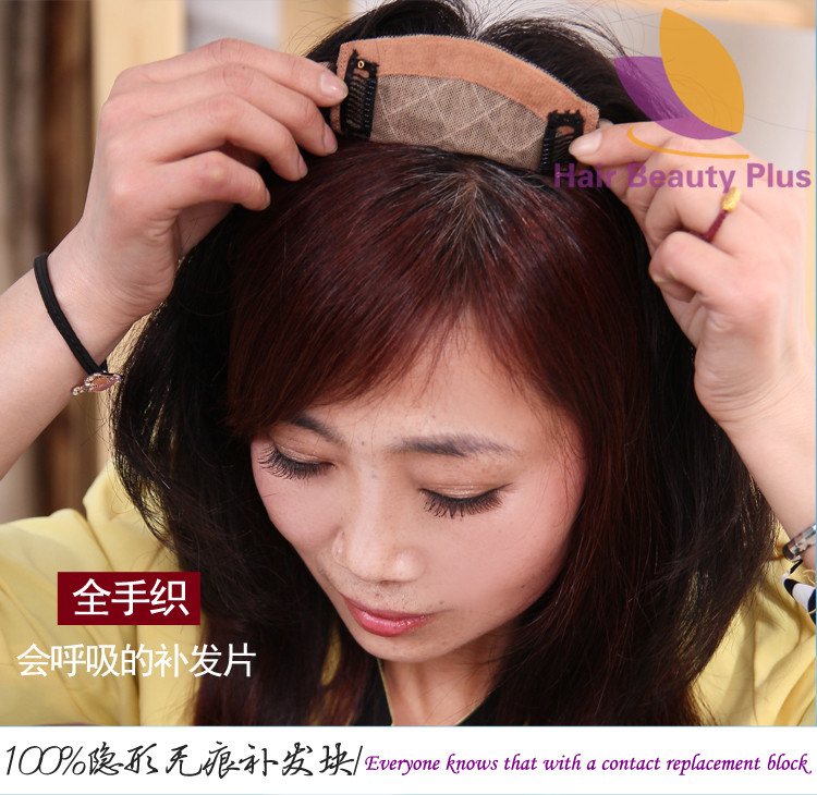 2016 Year New Style Toupee Natural Black Color Women Top Hand Made 100% H Hair Made Hair Length 30cm(China (Mainland))