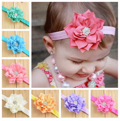 10 Colors Stock 10pcs/lot Newest Baby Girls Large Lace Flower Rhinestone Elastic Headband Hairband Kids Jewelry Accessories(China (Mainland))