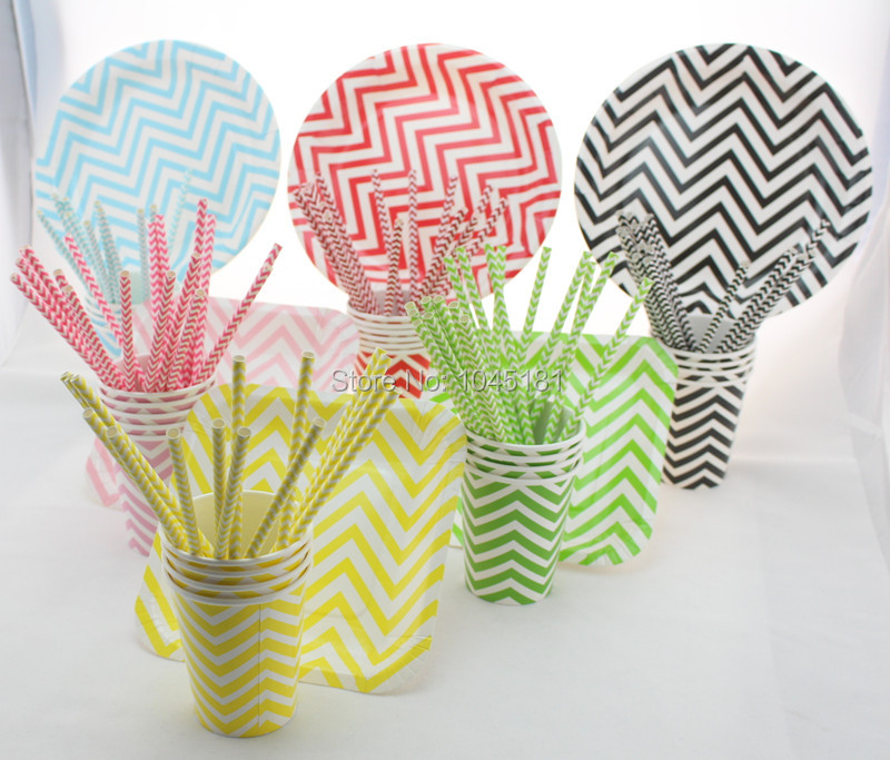 Chevron Party Tableware Set Disposable Paper Plates Paper Cups Paper Drinking Straws Wedding Party Decoration Supplies 61pcs/lot(China (Mainland))