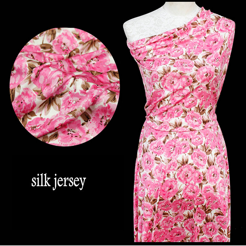 Plink Flower printed doubleside Silk Jersey Knit Fabric for silk dress(China (Mainland))