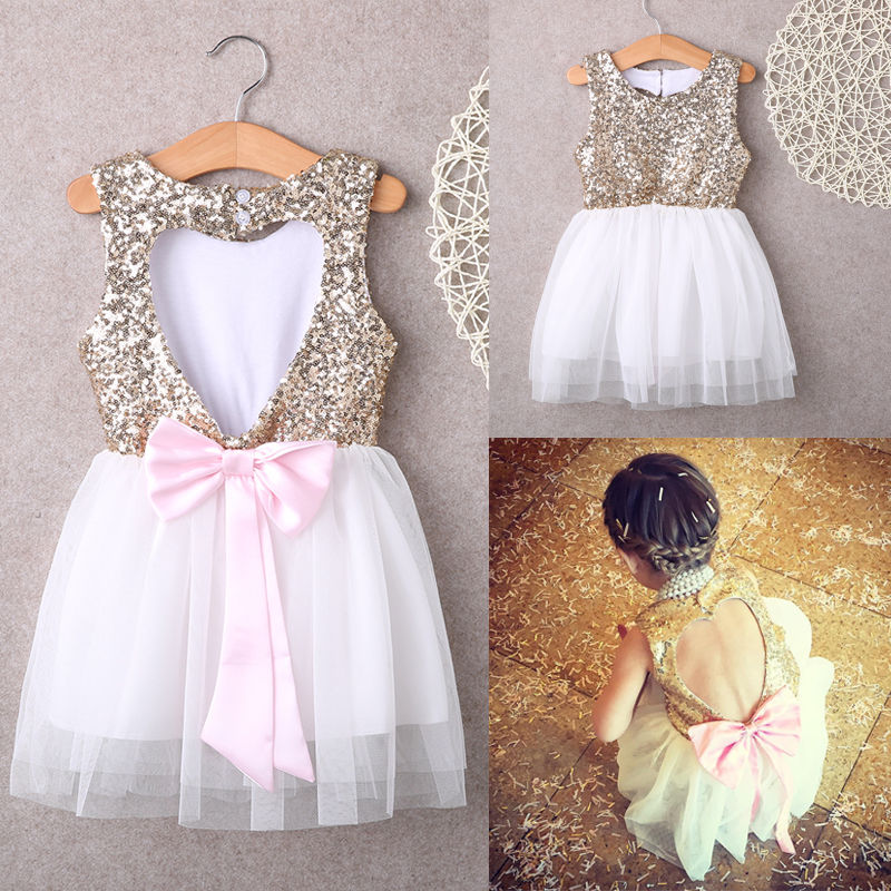 3-10Y Children Baby Girl Dress Clothing Sequins Party Gown Mini Ball Formal Love Backless Princess Bow Backless Gown Dress Girl(China (Mainland))