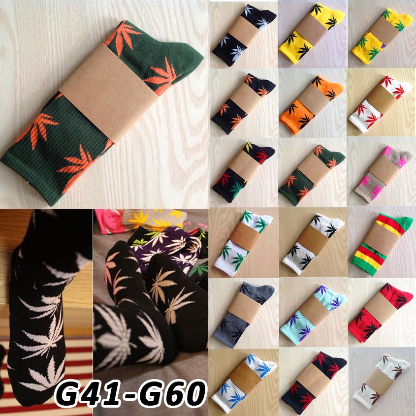 Calcetines Weed Leaves style knee high socks Meias femininas Masculinas Leaf Printed Pattern Cotton Women boot long socks G41(China (Mainland))