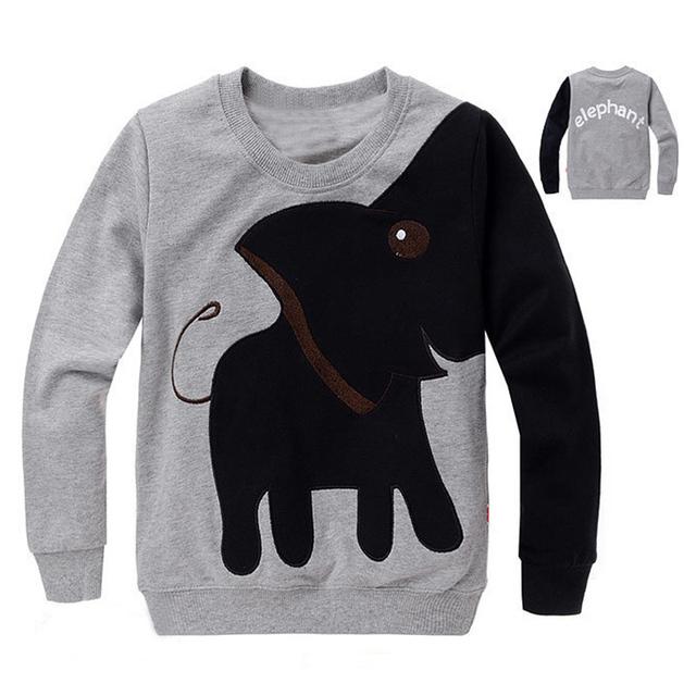 Бесплатная доставка, Нью-Слон, детей свитер, мальчик девочка Пуловер топ рубашки С Капюшоном Свитер балахон