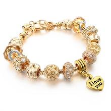 2016 High Quality Heart Charm Bracelets For Women Snake Chain Gold Plated Bracelets & Bangles Fashion Jewelry  SBR150082(China (Mainland))