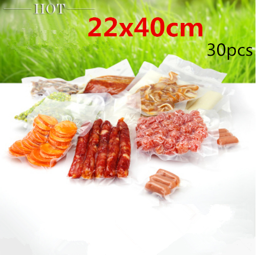 22x40cm 30pcs New material plastic pack bags/Thicken vacuum plastic packaging candy,fruit,food etc pouchs(China (Mainland))