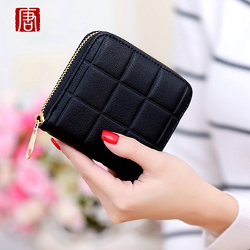 New Top Brand Small Short Fashion font b Plaid b font Zipper PU Leather Coin Card