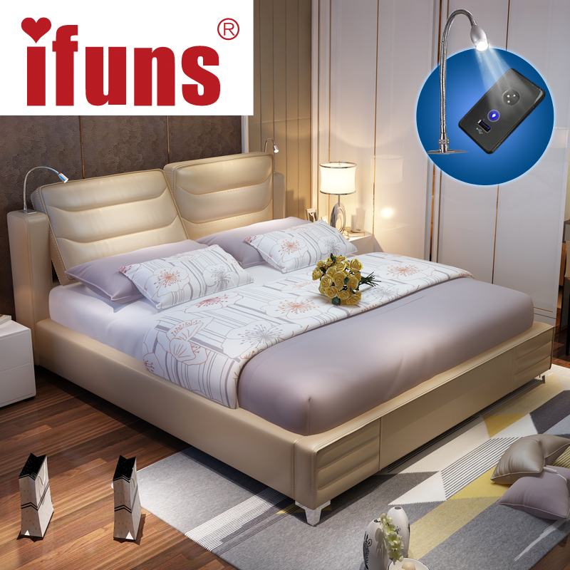 IFUNS luxury bedroom furniture sets queen size modern genuine leather storage double bed frame LED night USB charge soft bed(China (Mainland))