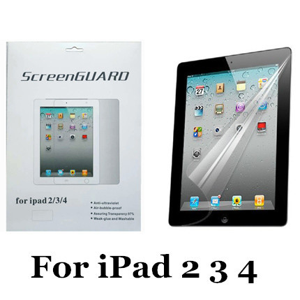 For Apple iPad 2 3 4 New Clear LCD Film Guard Protective Screen Protector for ipad 2 3 4 With Retail Package(China (Mainland))