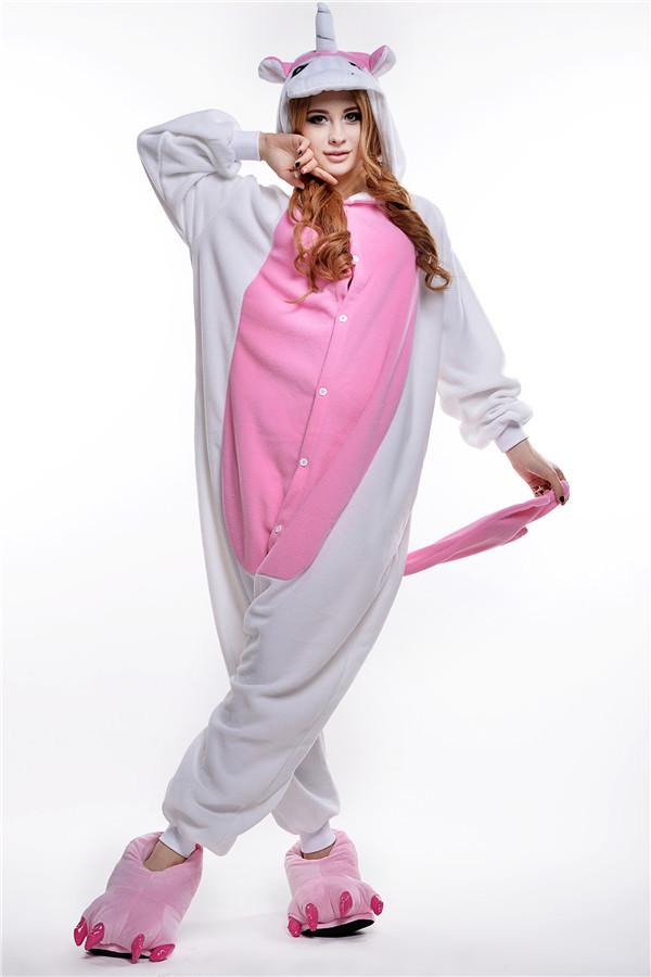 unisex pyjama volwassen kostuum dier onesie nachtkleding pak roze eenhoorn(China (Mainland))