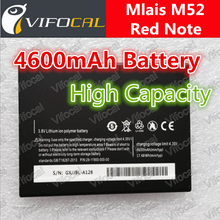 Mlais M52 battery 4600mAh High Large Capacity Red Note 100% Original New Cell Phone Replacement backup Bateria + Free Shipping(China (Mainland))