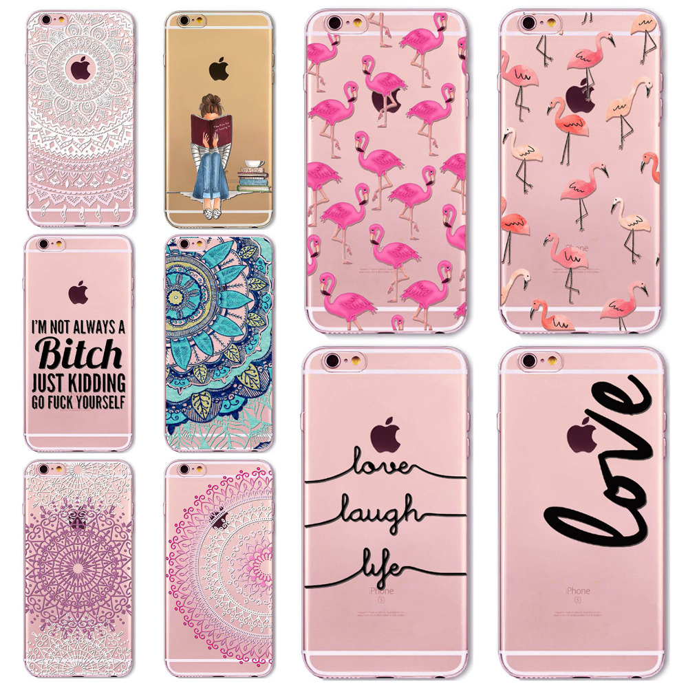 7 6s Animals Transparent Case For Iphone 7 6 6s Floral Paisley Grils Flamingo Love Words Phone Cover TPU Silicone Fundas Cases(China (Mainland))