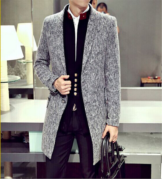 New fall male brand fashion casual Medium long section Trench coats Korean Slim mens clothing cotton Coat outerwear Одежда и ак�е��уары<br><br><br>Aliexpress