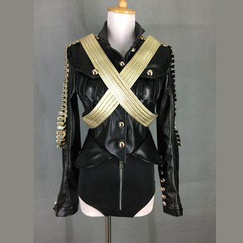 New Fashion Black Long-Sleeve Leather Clothing Female Singer Ds Costume Dj Clothes Sexy Stage Show Performance Wear Set