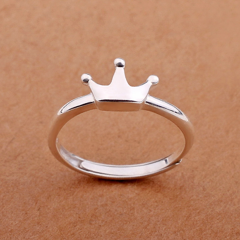 925 Sterling Silver Crown Rings for Women New Design Lovely Girls Christmas Gift Statement Jewelry Adjustable Size Ring(China (Mainland))
