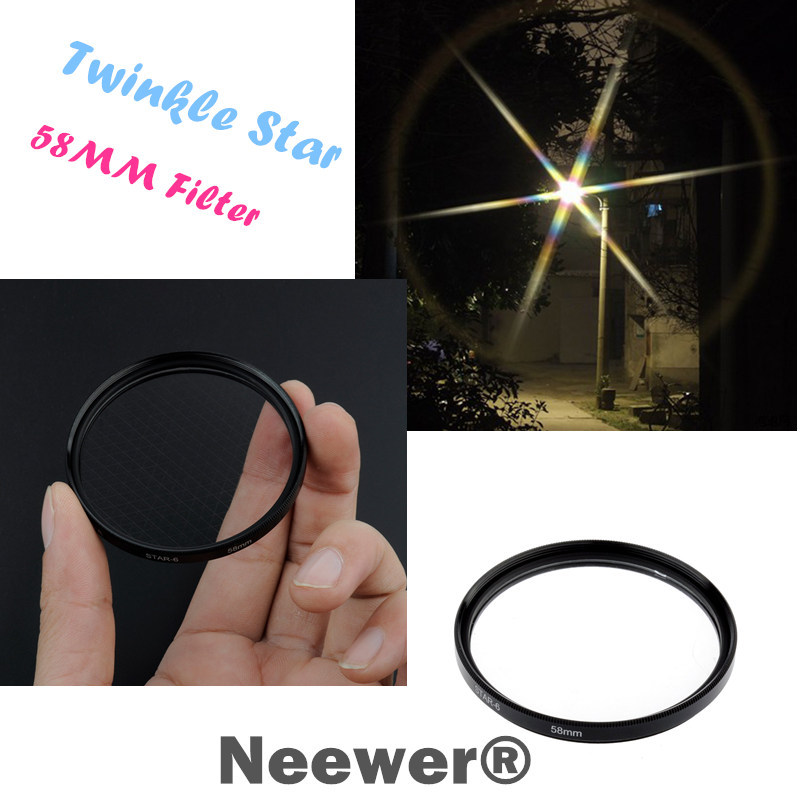 Neewer 58mm Optical 6-Point Star Cross Filter Twinkle Effect for Digital Camera Lens Free Shipping(China (Mainland))