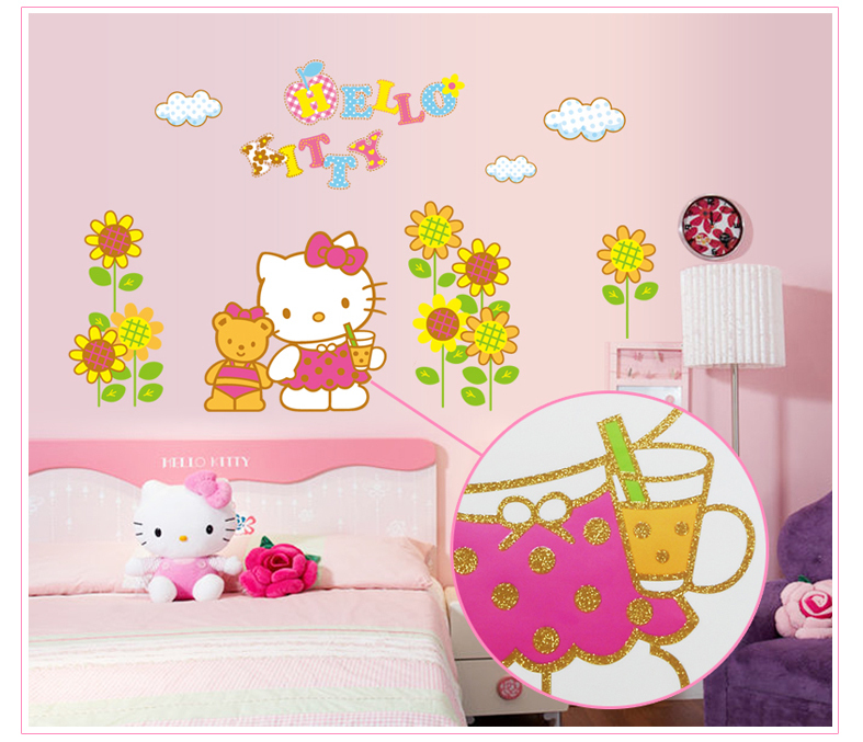 Wall Sticker Hello Kitty 3d Wall Art Mural Sunflower Wall