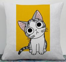 Cartoon Cotton and Linen Cushion Cover
