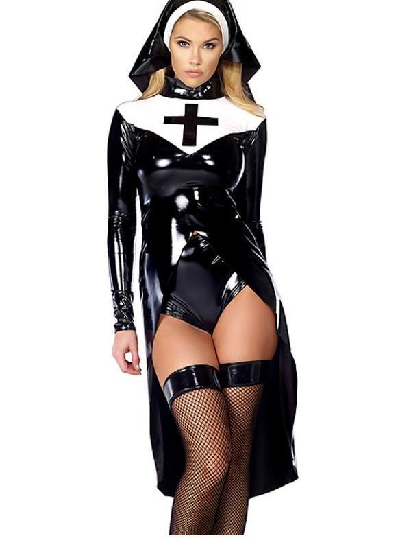 Woman Halloween Costume Nun 2016 Unique Design Hot Sale Sexy Women Halloween Cosplay Costume W850640(China (Mainland))