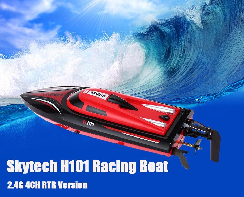 Surprising Ready-to-go Simulation Model 2.4G 4CH Remote Control RC Racing Boat Toy RTR Skytech H101 Version Special Summer Game(China (Mainland))