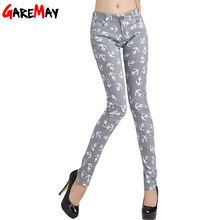 2016 New Women's Pants Females Cotton High Elastic Pencil Painted Print Thin Slim Flower Jeans Pants Trousers Clothing For Women(China (Mainland))