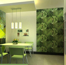 Modern Banana Leaf Restaurant wallpaper roll green Chinese style living room TV background wall paper(China (Mainland))