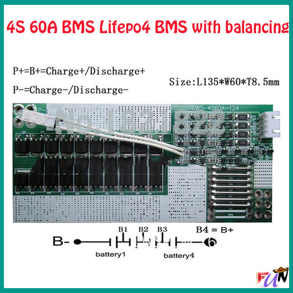 4S 60A lifepo4 12.8V 26650 18650 BMS PCM 4s battery protection board bms pcm 4s with balancing for lifepo4 battery cell pack(China (Mainland))
