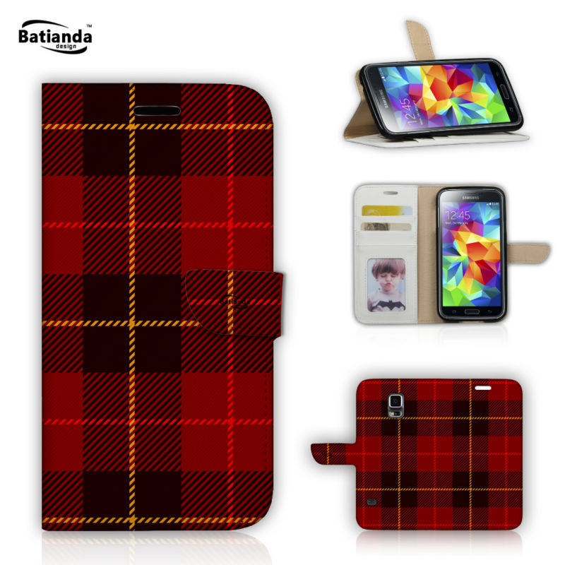 Classical font b Tartan b font Design Pu Leather Cases for Xiaomi Redmi Note Wallet Stand