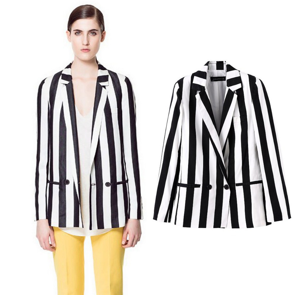 Srping New European Style Black And White Striped Women Blazers Slim And Thin Elegant And