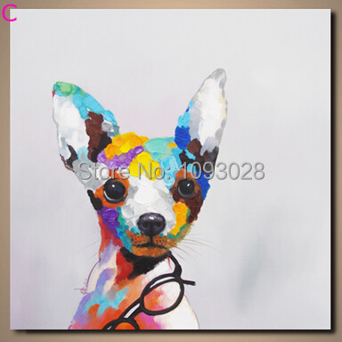 Hand-painted oil paintings popular animal bedroom hangs a picture of glasses puppy household wall decoration painting canvas art(China (Mainland))