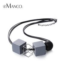 eManco black rope wooden beads choker necklace ethnic square alloy chain geogemtric vintage necklace for women collares mujer(China (Mainland))