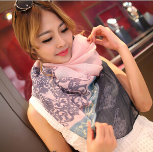 High Quality Gradual Colors Voile Female Scarves Shawl Wrap Long Brand Hijab Muslim Desigual Foulard Women Scarf Flower Print(China (Mainland))