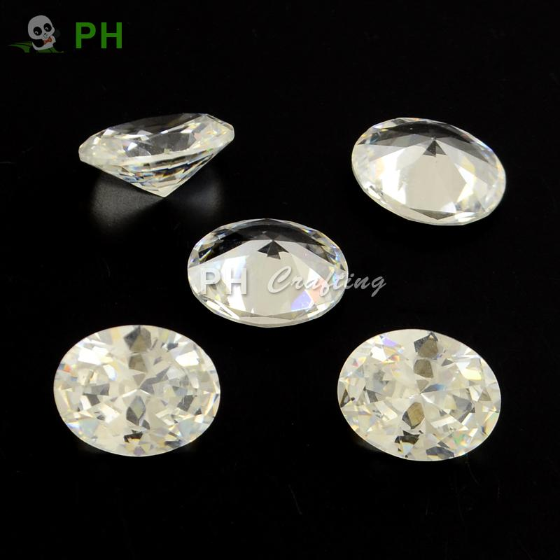 Oval Shaped Cubic Zirconia Pointed Back Cabochons, Faceted, Clear, 9x7mm<br><br>Aliexpress