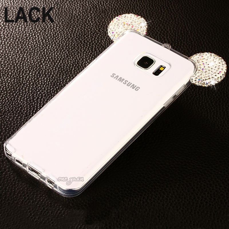 Hot sale 3D Diamond Glitter Mickey Mouse Ears Rhinestone Clear Phone Cases Cover For Samsung Galaxy A5 A7 A8 / Note 3 N4 N5 Case(China (Mainland))