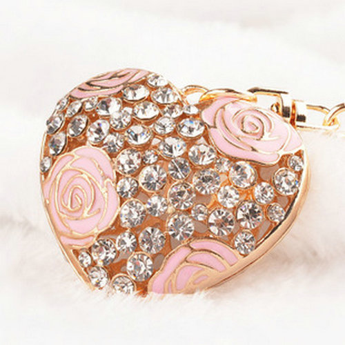 Hot Creative Women Purse Bag Jewelry New Arrival Hollow Heart Keyring Enamel Rose Flower Crystal Keychains Charm Novelty Items(China (Mainland))