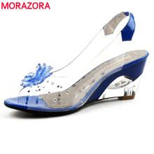 EUR Size 34-43 Factory wholesale Price simple fashion transparent wedge heels sandals dress casual shoes ladies sandals 2015