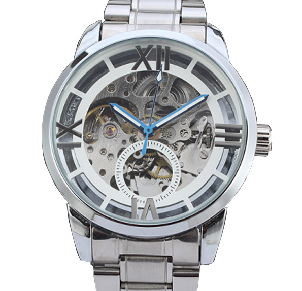 Winner Silver Color Mens Mechanical Skeleton Watch Hand Wind Up Dial Black Leather Strap168(China (Mainland))
