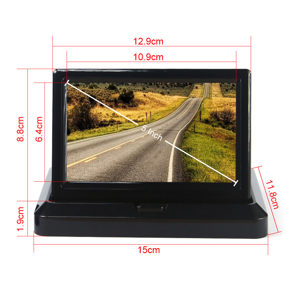 """5"""" Car Rear View System Foldable TFT Color LCD Car Reverse Rearview 5 inch 16: 9 Car Security Monitor for Camera DVD VCR 12V(China (Mainland))"""