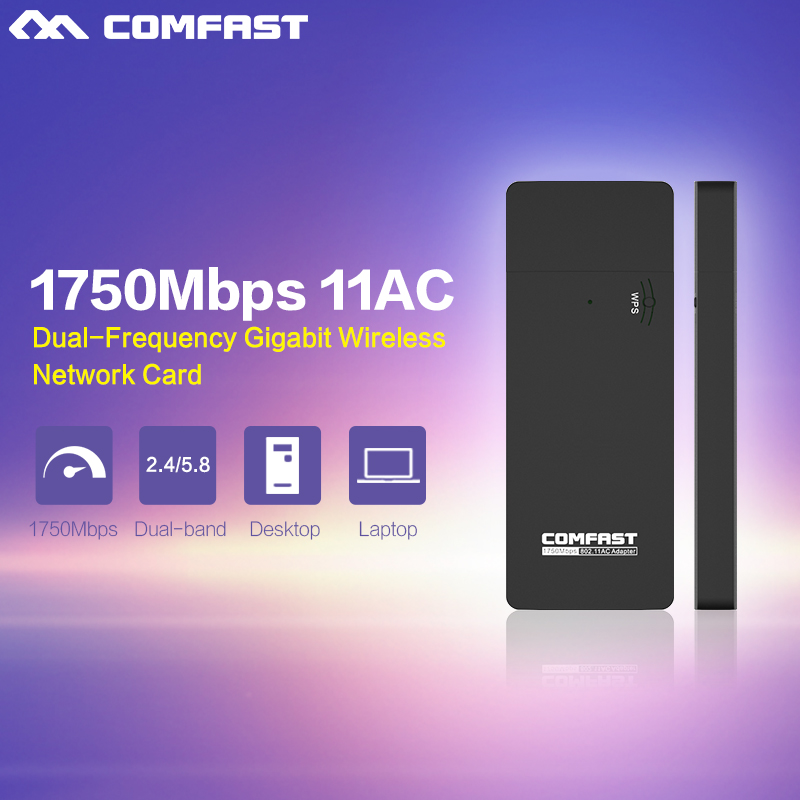 1750Mbps COMFAST Mini USB Wi fi adapter Dual Band 802.11ac Wireless N wifi dongle 2.4G+5.8G wi-fi adapter Router wifi adapter(China (Mainland))