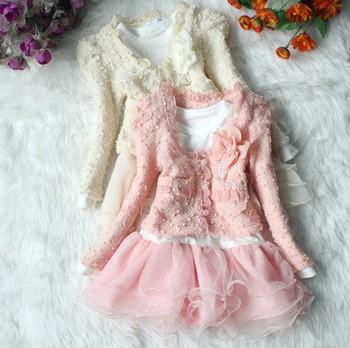 Baby Girls Clothing Sets New 2015 Autumn Kids Clothes Fashion Toddler Tulle Dress+Children Outerwear Coat 2pcs/SET Wholesale