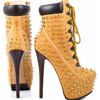 Women trendy rivets platform ankle booties lace up ultra high heel boots studded gladiator short boots dropship(China (Mainland))