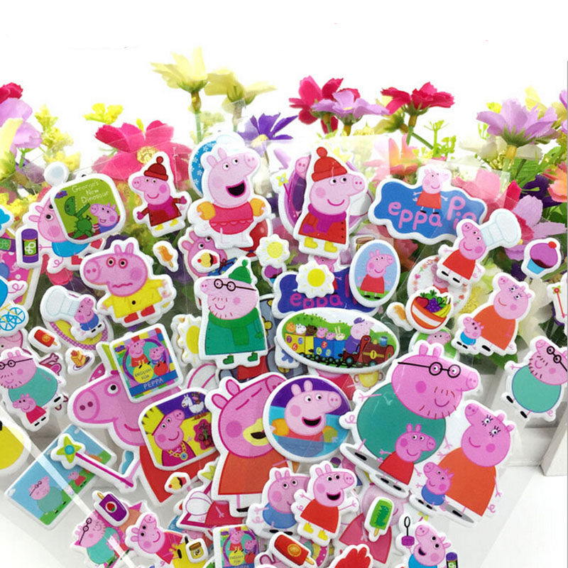 5pcs/lot Pink Peppa Pig Stickers For Kids Home Wall Decor Sticker Decal Skateboard Doodle George Pig Girls Gift Brinquedos(China (Mainland))
