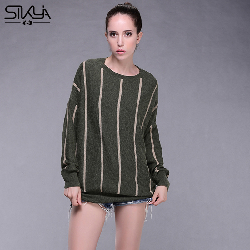 2016 Autumn And Winter New European And American Fashion Classic Striped Sweater Loose Round