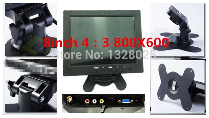 Hot sale! Free shipping 8-inch TFT-LCD and VGA / AV connector mini car monitor display 800 * 600 resolution 4:3 computer monitor(China (Mainland))