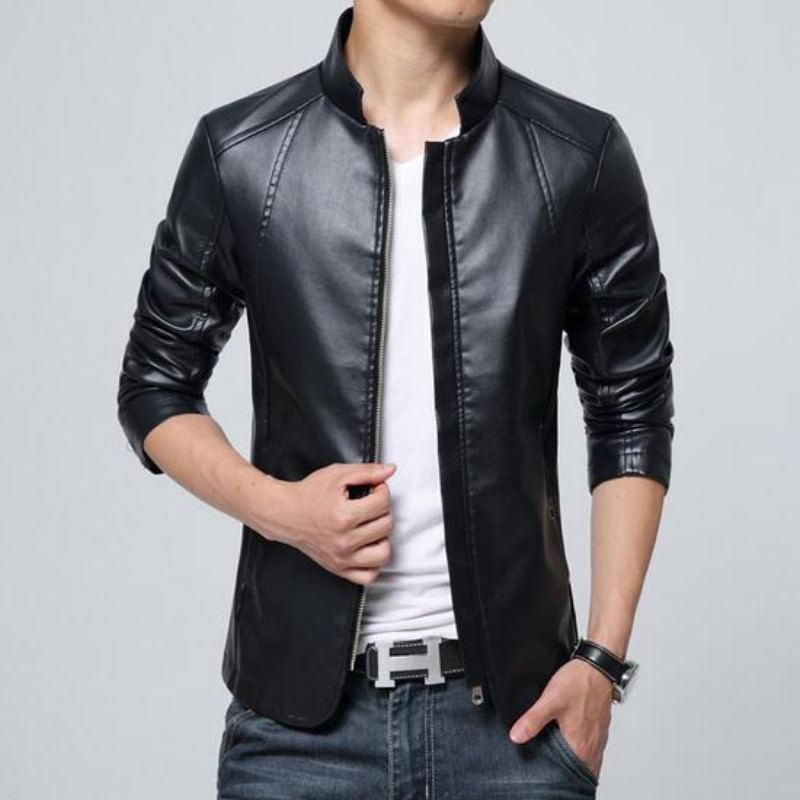 New Fashion Pu Leather Jacket Men Black Blue Khaki Solid Mens Casual Coats Trend Slim Fit Younth