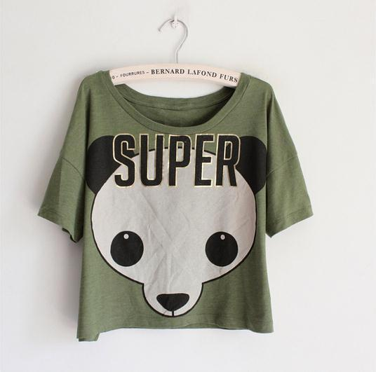 New 2015 Summer Women Loose Cropped Tops Animal Panda MEGA GEEK Letters Print T-Shirts Short Sleeve Cotton Crop Top(China (Mainland))